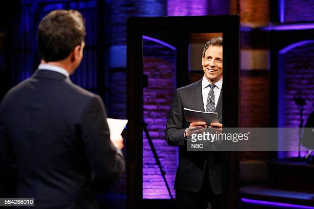 Host Seth Meyers during the 'Affirmations' sketch on July 27 2016