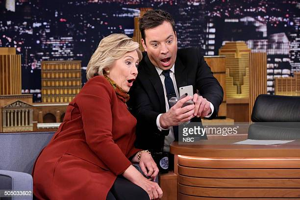 Presidential Candidate Hillary Clinton and host Jimmy Fallon take a Snapchat on January 14 2016