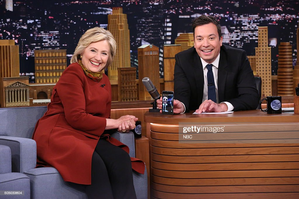 Presidential Candidate Hillary Clinton and host Jimmy Fallon take a Snapchat on January 14, 2016 --