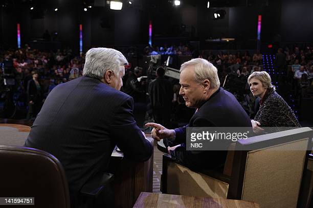 LENO Episode 4003 Pictured Host Jay Leno talks to Hardball's Chris Matthews and actress Jane Lynch during a commecial break on March 14 2011 Photo by...