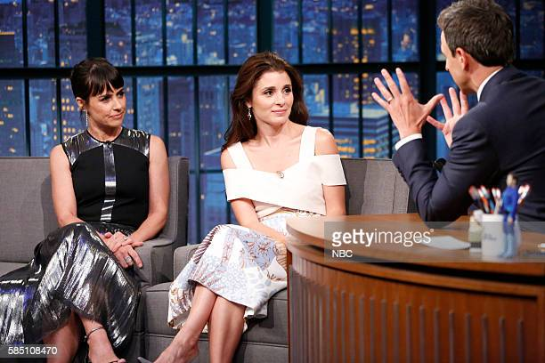 Episode 402 -- Pictured: Actress' Constance Zimmer and Shiri Appleby during an interview with host Seth Meyers on August 1, 2016 --