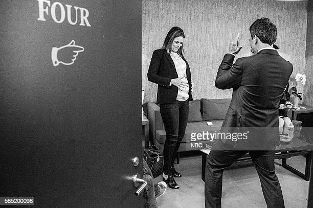 MEYERS Episode 402 Pictured Today coanchor Savannah Guthrie and host Seth Meyers backstage on August 1 2016
