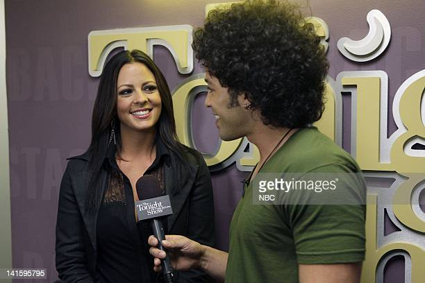 Episode 4024 -- Pictured: Musical guest Sara Evans during an interview with Bryan Branly backstage on April 12, 2011 -- Photo by: Paul...