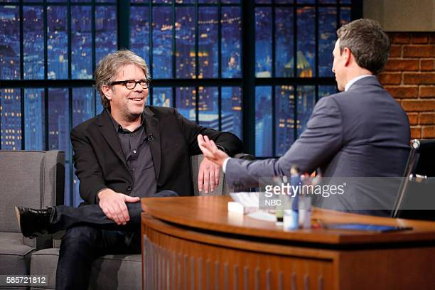 Author Jonathan Franzen during an interview with host Seth Meyers on August 3 2016