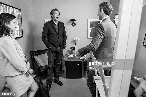 MEYERS Episode 404 Pictured Author Jonathan Franzen talks with host Seth Meyers backstage on August 3 2016