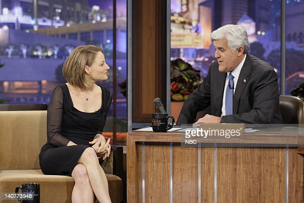 Actress/director Jodie Foster during an interview with host Jay Leno on May 13 2011 Photo by Stacie McChesney/NBC/NBCU Photo Bank