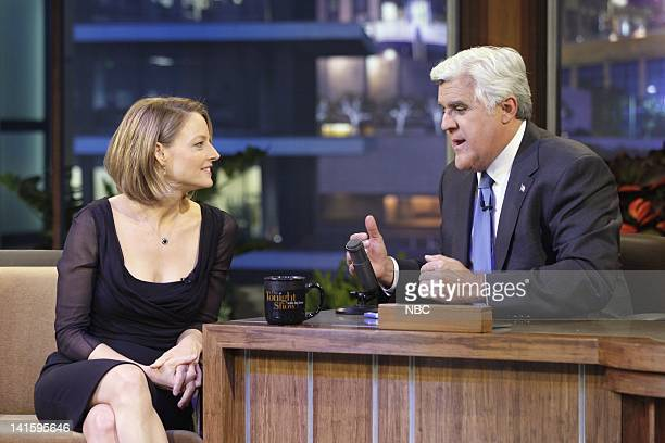 LENO Episode 4042 Pictured Actress/director Jodie Foster talks with host Jay Leno during a commercial break on May 13 2011 Photo by Stacie...