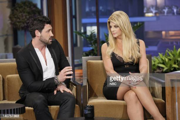 Dancer Maksim Chmerkovskiy and actress Kirstie Alley during an interview on May 20 2011 Photo by Paul Drinkwater/NBC/NBCU Photo Bank