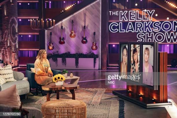 Episode 4057 -- Pictured: Kelly Clarkson, Kristen Stewart , Mary Steenburgen , Mackenzie Davis --