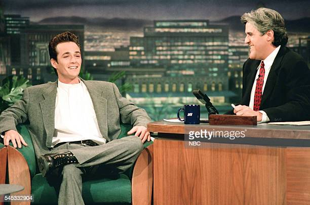 Actor Luke Perry during an interview with host Jay Leno on February 24 1994