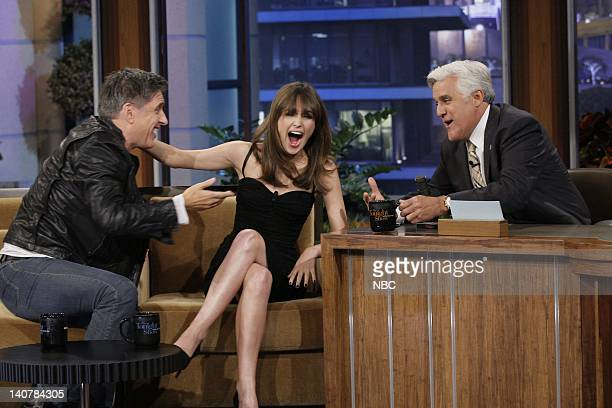 Comedian Craig Ferguson and actress Rose Byrne during an interview with host Jay Leno on July 13 2011 Photo by Paul Drinkwater/NBC/NBCU Photo Bank