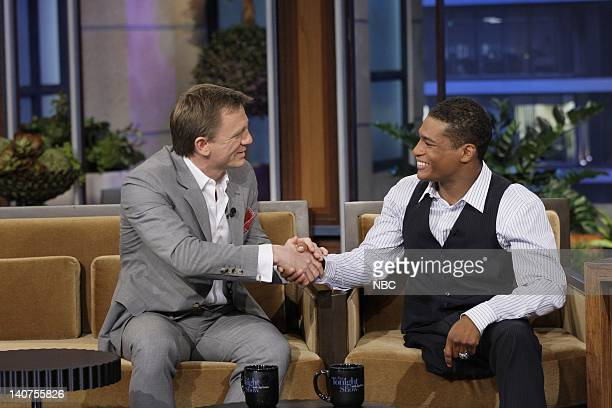 Actor Daniel Craig NCAA Wrestler Anthony Robles during an interview on July 19 2011 Photo by Paul Drinkwater/NBC/NBCU Photo Bank