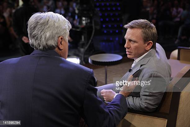 LENO Episode 4079 Pictured Host Jay Leno talks with actor Daniel Craig during a commercial break on July 19 2011 Photo by Paul Drinkwater/NBC/NBCU...