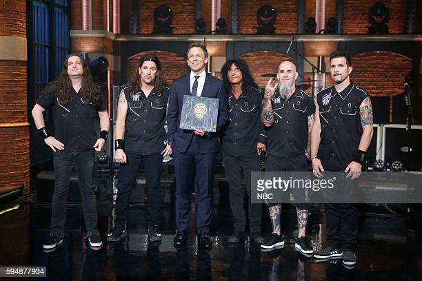 Jonathan Donais Frank Bello Charlie Benante Joey Belladonna and Scott Ian and Charlie Benante of musical guest Anthrax with host Seth Meyers on...