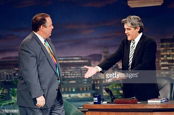 Talk show host Rush Limbaugh during an interview with host Jay Leno on February 25 1994