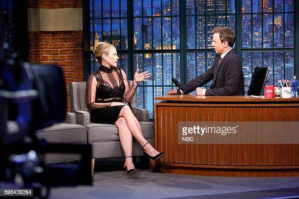 Episode 409 -- Pictured: Comedian Chelsea Handler during an interview with host Seth Meyers on August 25, 2016 --