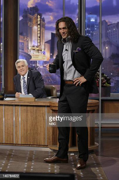 Host JayLeno Actor Jason Momoa during an interview on August 4 2011 Photo by Paul Drinkwater/NBC/NBCU Photo Bank