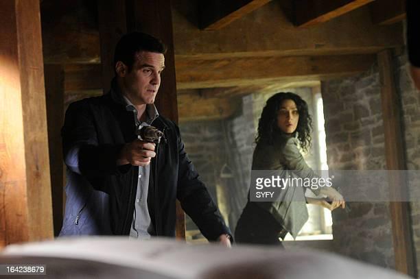 """Episode 410 """"We All Fall Down"""" -- Pictured: Eddie McClintock as Pete Lattimer, Joanne Kelly as Myka Bering --"""