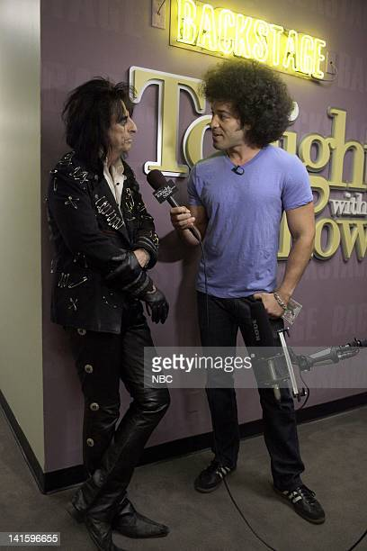 LENO Episode 4105 Pictured Musical guest Alice Cooper during an interview with Bryan Branly backstage on September 9 2011 Photo by Stacie...