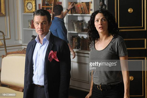 """Episode 411 """"The Living and the Dead"""" -- Pictured: James Marster as Prof. Sutton, Joanne Kelly as Myka Bering --"""