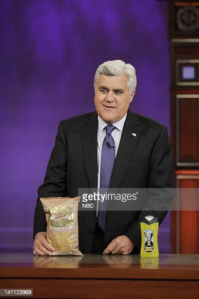 Host Jay Leno during Products that Shouldn't Merge segment on September 27 2011 Photo by Paul Drinkwater/NBC/NBCU Photo Bank