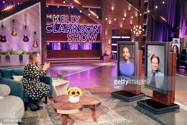 Episode 4132 -- Pictured: Kelly Clarkson, Anthony Mackie , Sebastian Stan --