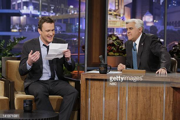 Actor Jason Segel during an interview with host Jay Leno on November 8 2011 Photo by Stacie McChesney/NBC/NBCU Photo Bank