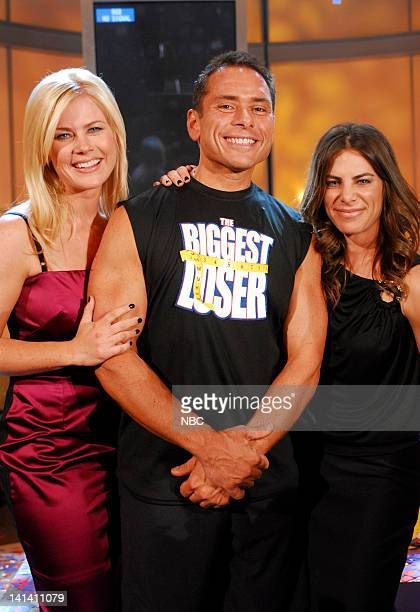 LOSER Episode 415 Live Finale Pictured Host Allison Sweeney Winner Bill Germanakos and trainer Jillian Michaels on December 18 2007 Photo by Dave...