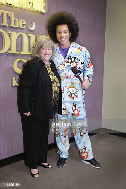 LENO Episode 4155 Pictured Actress Kathy Bates during an interview with Bryan Branly backstage on November 29 2011 Photo by Paul Drinkwater/NBC/NBCU...