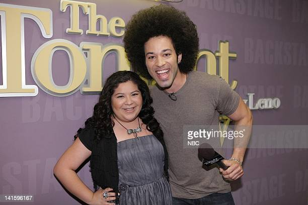 LENO Episode 4156 Pictured Actress Raini Rodriguez talks with Bryan Branly backstage on November 30 2011 Photo by Paul Drinkwater/NBC/NBCU Photo Bank