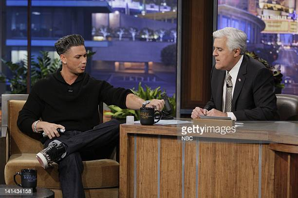 'Jersey Shores' Pauly D during an interview with host Jay Leno on January 10 2012 Photo by Paul Drinkwater/NBC/NBCU Photo Bank