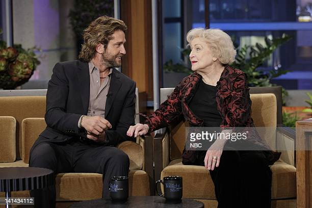 Actor Gerard Butler and actress Betty White during an interview on January 12 2012 Photo by Paul Drinkwater/NBC/NBCU Photo Bank