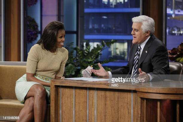 Episode 4188 -- Pictured: First lady Michelle Obama during an interview with host Jay Leno on January 31, 2012 -- Photo by: Stacie McChesney/NBC/NBCU...