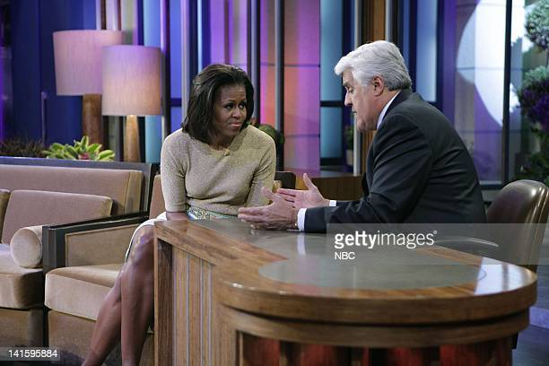 Episode 4188 -- Pictured: First lady Michelle Obama talks with host Jay Leno during a commercial break on January 31, 2012 -- Photo by: Stacie...