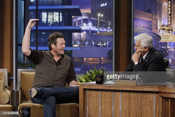 Country singer Blake Shelton during an interview with host Jay Leno on February 2 2012 Photo by Stacie McChesney/NBC/NBCU Photo Bank