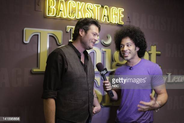 LENO Episode 4190 Pictured Country singer Blake Shelton during an interview with Bryan Branly backstage on February 2 2012 Photo by Stacie...