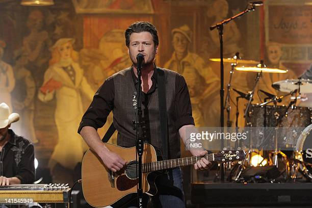 Country singer Blake Shelton performs on February 2 2012 Photo by Stacie McChesney/NBC/NBCU Photo Bank