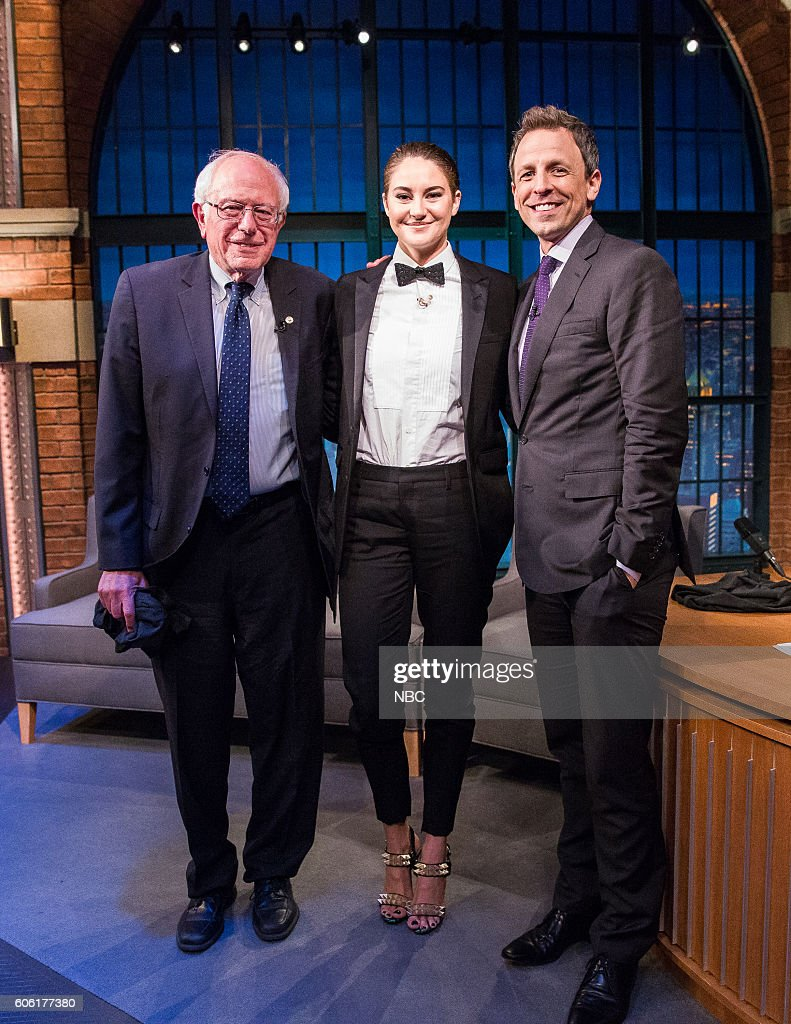MEYERS -- (EXCLUSIVE COVERAGE) -- Episode 420 -- Pictured: (l-r) Senator Bernie Sanders, actress Shailene Woodle and host Seth Meyers on September 15, 2016 --
