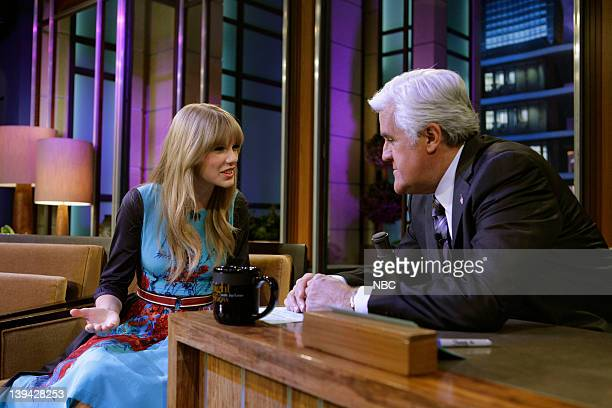 Singer Taylor Swift talks with host Jay Leno during a commercial break on February 20 2012