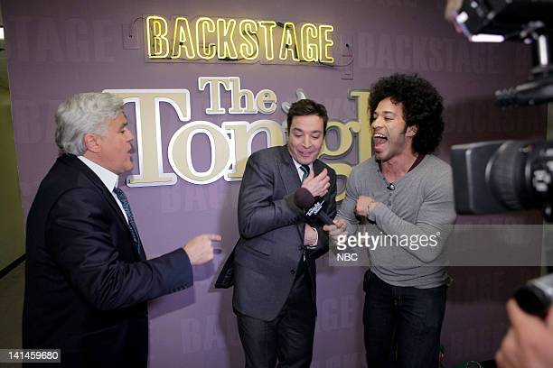 LENO Episode 4216 Pictured Host Jay Leno and Jimmy Fallon during an interview with Bryan Branly backstage on March 16 2012