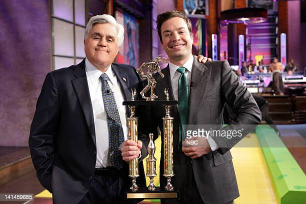 LENO Episode 4216 Pictured Host Jay Leno and Jimmy Fallon on March 16 2012