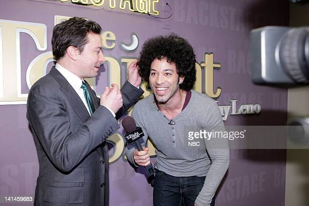 LENO Episode 4216 Pictured Talk show host Jimmy Fallon during an interview with Bryan Branly backstage on March 16 2012