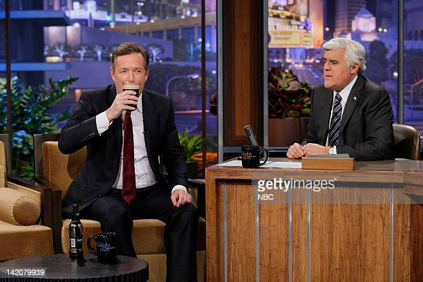 Episode 4225 -- Pictured: Piers Morgan during an interview with host Jay Leno on March 29, 2012 --