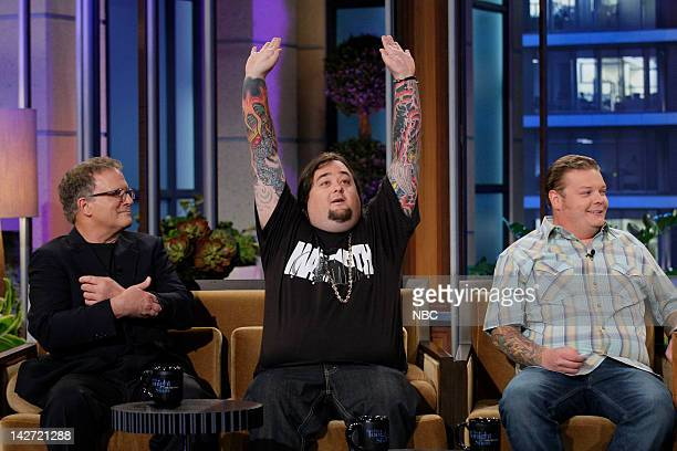 Episode 4234 -- Pictured: Actor Albert Brooks with Pawn Stars Chumlee & Corey Harrison during an interview on April 11, 2012 --