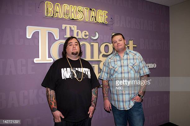 LENO Episode 4234 Pictured Pawn Stars Chumlee Corey Harrison backstage on April 11 2012