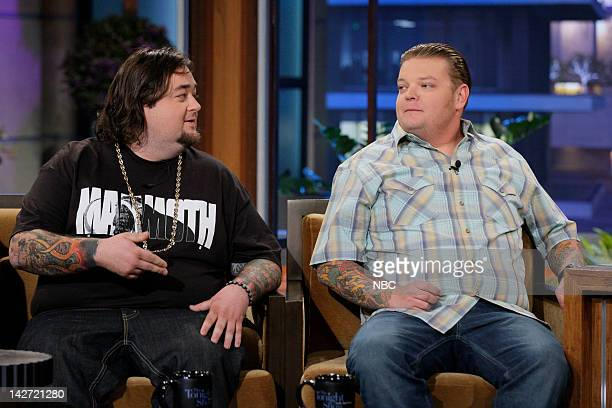 Episode 4234 -- Pictured: Pawn Stars Chumlee & Corey Harrison during an interview on April 11, 2012 --