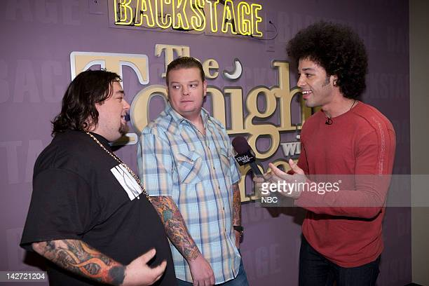 Episode 4234 -- Pictured: Pawn Stars Chumlee & Corey Harrison during an interview with Bryan Branly backstage on April 11, 2012 --