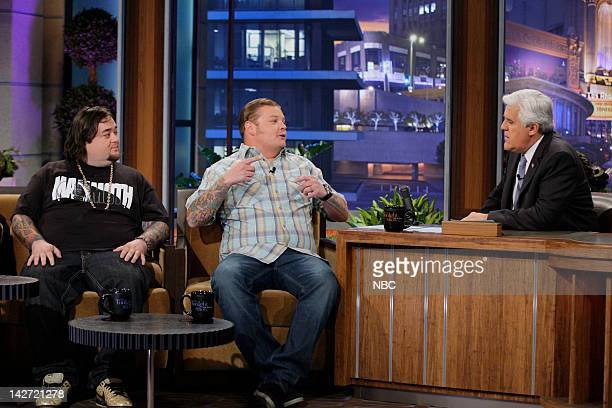 Episode 4234 -- Pictured: Pawn Stars Chumlee & Corey Harrison during an interview with host Jay Leno on April 11, 2012 --