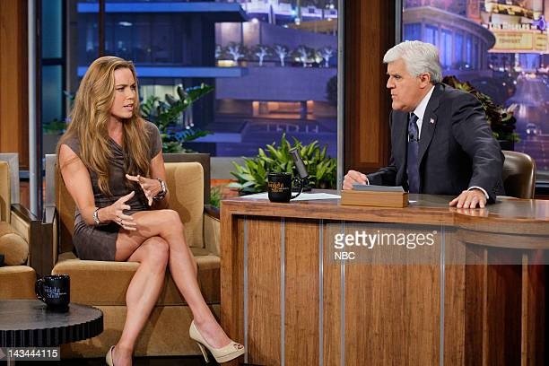 Episode 4240 -- Pictured: Olympic Swimmer Natalie Coughlin during an interview with host Jay Leno on April 26, 2012 --