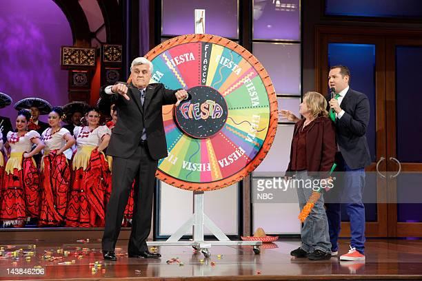 Host Jay Leno a contestant Ross ' The Intern' Mathews during Cinco de Leno segment on May 4 2012